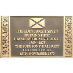 Plaque to the Edinburgh Seven, Royal College of Surgeons of Edinburgh.