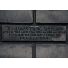 Plaque on the wall of James Young Simpson's former house.