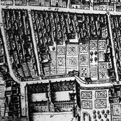 College Wynd from a map of 1647 by James Gordon of Rothiemay. The horizontal street at the top is the Cowgate. The middle of the three vertical streets is College Wynd, the main approach from the town to the University.