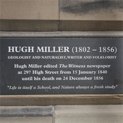 Hugh Miller Plaque at the former offices of the Witness newspaper.