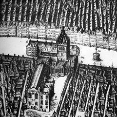 1647 map of Edinburgh by James Gordon of Rothiemay showing luckenbooths behind St Giles Cathedral.