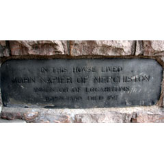 John Napier plaque, Merchiston Castle.
