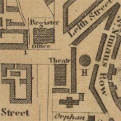 Map of Edinburgh from 1807 showing the Theatre Royal.