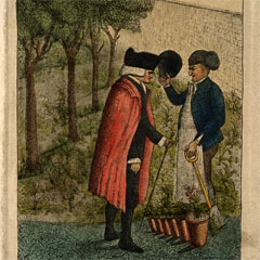 Coloured etching of John Hope by John Kay, 1786.