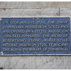 Royal Infirmary plaque, Infirmary Street.