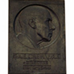 Relief portrait of Francis Albert Eley Crew, on wall in entrance area of the Crew Building.