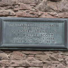 Plaque commemorating the meeting of Robert Burns and Walter Scott at the house of Adam Ferguson.