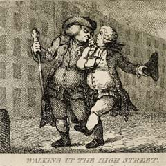 Caricature of Johnson and Boswell walking down the Royal Mile.