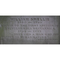 Inscription on WIlliam Smellie's grave.
