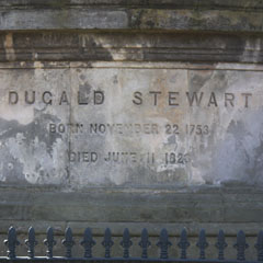Inscription on the memorial to Dugald Stewart.