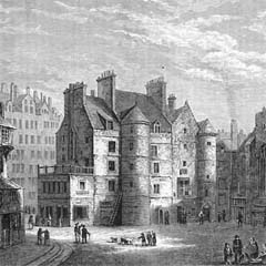 An engraving of the old Edinburgh Tolbooth based on an eighteenth century painting by Alexander Naysmith.