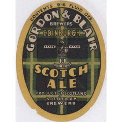 Label from Scotch Ale, brewed by Gordon & Blair.