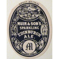 Label for Muir & Son's Sparkling Edinburgh Ale.