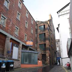 View of old brewery buildings in Crichton's Close.