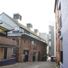 View of old brewery buildings looking down Crichton's Close.