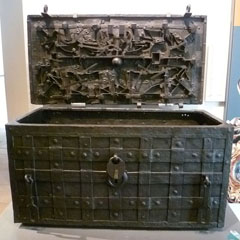 The Darien Chest which held the money and documents of the Company of Scotland, now at the National Mueum of Scotland.