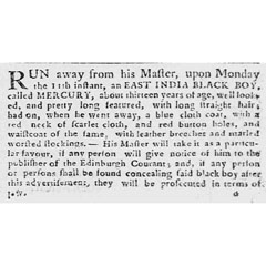 Advert in the Caledonian Mercury, 4th October 1769.