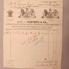 Receipt from Monteith & Co. for 1 pair of leather tennis shoes.
