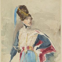Watercolour portrait of Sir Walter Scott's son Walter in Hussars' uniform.