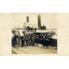 "The old paddle steamer ""William Muir"" loading horses at Granton"
