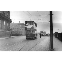 Granton Square with a lorry loaded with esparto grass leaving the Square, 11 April, 1955