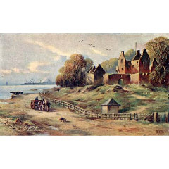 Postcard of Granton Castle along the Firth of Forth shoreline