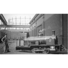 Black and white photograph of a Scottish Gas Works, Granton Works locomotive inside the Gas Works