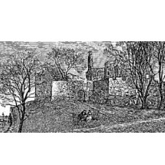 Black and white engraving of the ruins of Granton Castle in the 19th century