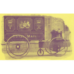 Sepia photograph of the royal mail delivery between Leith and Graton taken from The Madelvic Motor Carriage Co. Ltd. original brochure, 1899