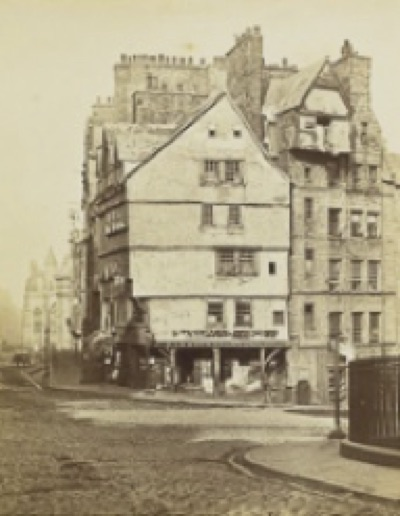 Horizontal expansion of buildings at West Bow on the Royal Mile by Archibald Burns, late 19th century (Scottish National Portrait Gallery)
