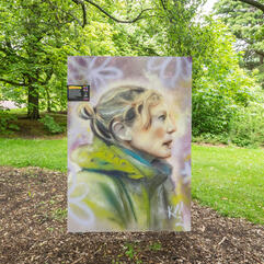 Portrait of Dr. Aline Finger mounted on the grounds of the Royal Botanic Gardens, surrounded by trees