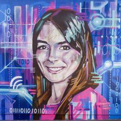 Portrait of Natalie Duffield with a background referencing binary code, wifi, and circut boards on the wall of North Edinburgh Arts